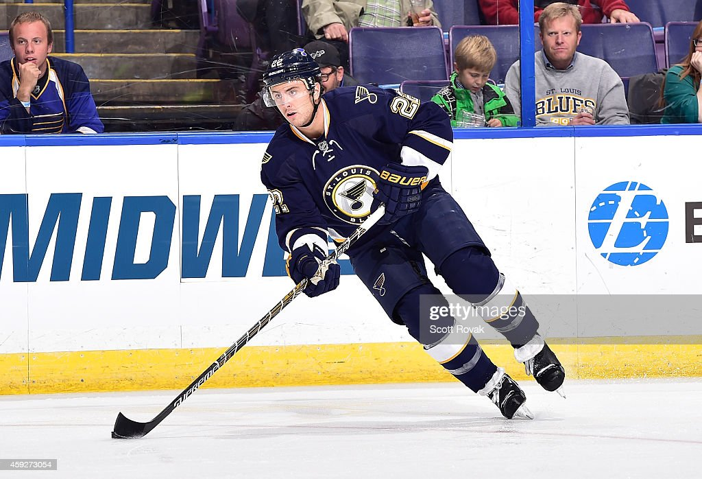 Kevin Shattenkirk of the St Louis Blues handles the puck against the Buffalo Sabres on November 11 2014 at Scottrade Center in St Louis Missouri