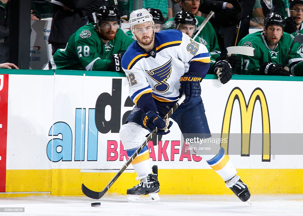 Kevin Shattenkirk of the St Louis Blues handles the puck against the Dallas Stars in Game Two of the Western Conference Second Round during the 2016...