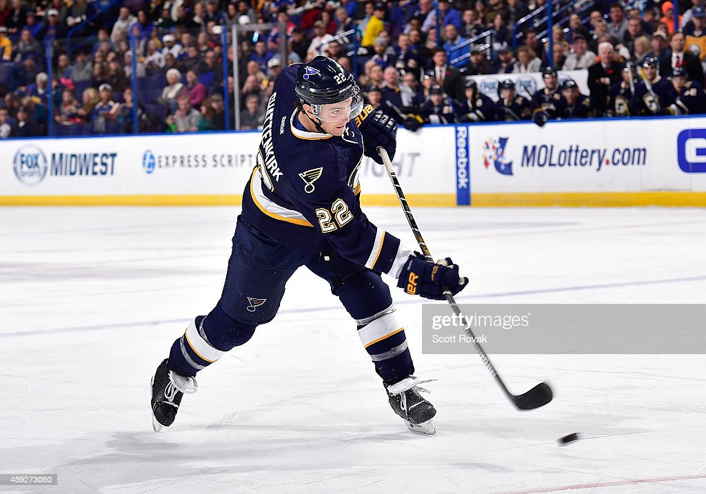Kevin Shattenkirk of the St Louis Blues shoots against the Buffalo Sabres on November 11 2014 at Scottrade Center in St Louis Missouri