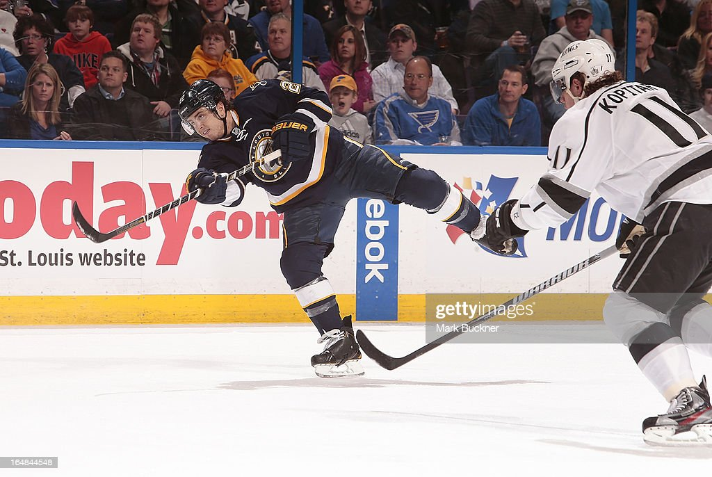 <a gi-track='captionPersonalityLinkClicked' href=/galleries/search?phrase=Kevin+Shattenkirk&family=editorial&specificpeople=4324986 ng-click='$event.stopPropagation()'>Kevin Shattenkirk</a> #22 of the St. Louis Blues shoots against the Los Angeles Kings in an NHL game on March 28, 2013 at Scottrade Center in St. Louis, Missouri.