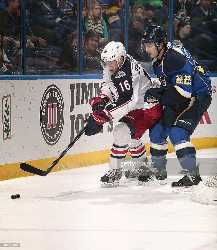 <a gi-track='captionPersonalityLinkClicked' href=/galleries/search?phrase=Kevin+Shattenkirk&family=editorial&specificpeople=4324986 ng-click='$event.stopPropagation()'>Kevin Shattenkirk</a> #22 of the St. Louis Blues skates against <a gi-track='captionPersonalityLinkClicked' href=/galleries/search?phrase=Derick+Brassard&family=editorial&specificpeople=540468 ng-click='$event.stopPropagation()'>Derick Brassard</a> #16 of the Columbus Blue Jackets in an NHL game on February 23, 2013 at Scottrade Center in St. Louis, Missouri.