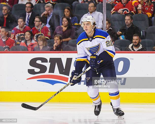 Kevin Shattenkirk of the St Louis Blues skates against the Calgary Flames at Scotiabank Saddledome on October 13 2015 in Calgary Alberta Canada