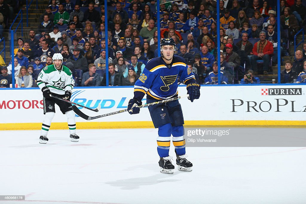 Kevin Shattenkirk of the St Louis Blues skates against the Dallas Stars at the Scottrade Center on December 27 2014 in St Louis Missouri