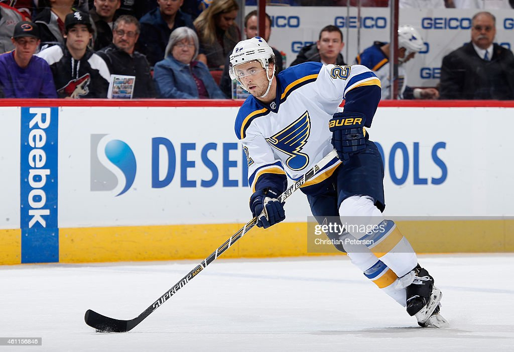 Kevin Shattenkirk of the St Louis Blues skates with the puck during the NHL game against the Arizona Coyotes at Gila River Arena on January 6 2015 in...