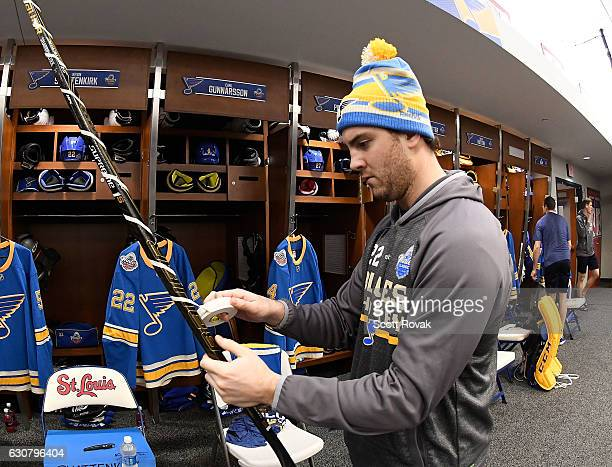 Kevin Shattenkirk of the St Louis Blues tapes his stick prior to the 2017 Bridgestone NHL Winter Classic Game at Busch Stadium on January 2 2017 in...