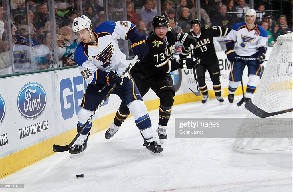 <a gi-track='captionPersonalityLinkClicked' href=/galleries/search?phrase=Kevin+Shattenkirk&family=editorial&specificpeople=4324986 ng-click='$event.stopPropagation()'>Kevin Shattenkirk</a> #22 of the St. Louis Blues tries to keep the puck away against <a gi-track='captionPersonalityLinkClicked' href=/galleries/search?phrase=Michael+Ryder&family=editorial&specificpeople=208983 ng-click='$event.stopPropagation()'>Michael Ryder</a> #73 of the Dallas Stars at the American Airlines Center on January 26, 2013 in Dallas, Texas.