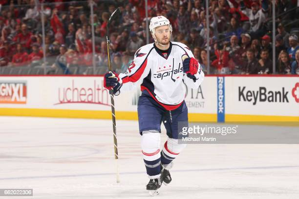 Kevin Shattenkirk of the Washington Capitals celebrates a goal against the Colorado Avalanche at the Pepsi Center on March 29 2017 in Denver Colorado...