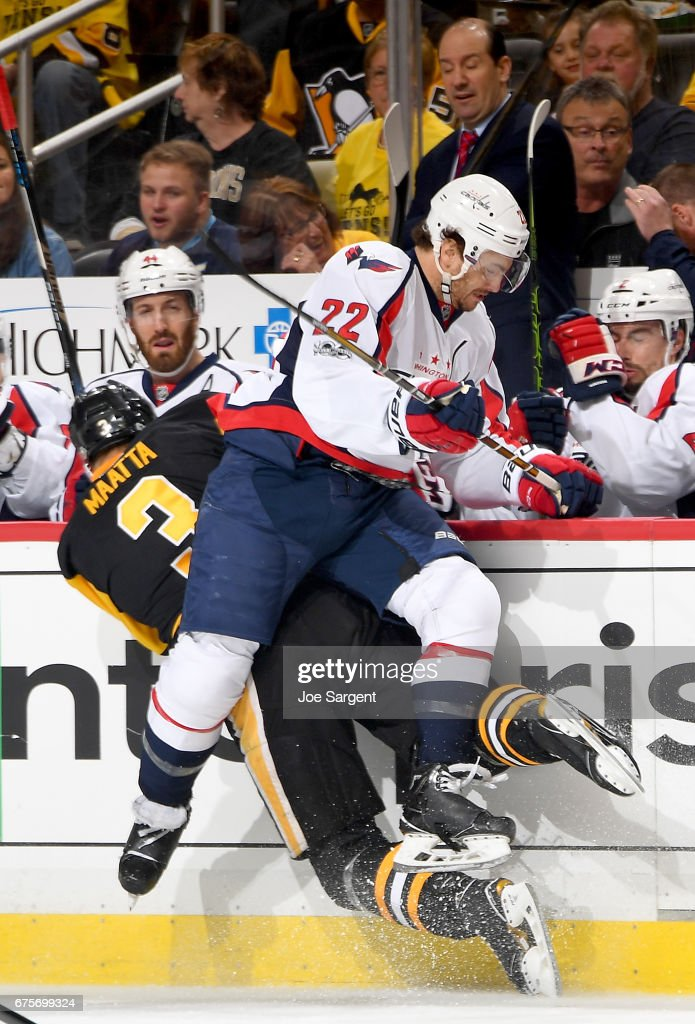 Kevin Shattenkirk #22 of the Washington Capitals checks Olli Maatta #3 of the Pittsburgh Penguins in Game Three of the Eastern Conference Second Round during the 2017 NHL Stanley Cup Playoffs at PPG Paints Arena on May 1, 2017 in Pittsburgh, Pennsylvania.