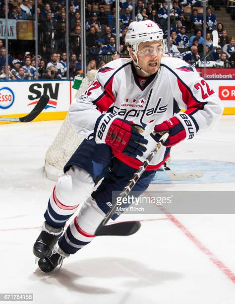 Kevin Shattenkirk of the Washington Capitals skates against the Toronto Maple Leafs during the third period in Game Four of the Eastern Conference...