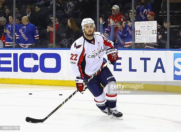 Kevin Shattenkirk of the Washington Capitals skates in warmups prior to the game against the New York Rangers at Madison Square Garden on February 28...