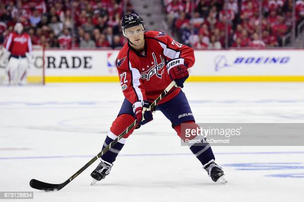 Kevin Shattenkirk of the Washington Capitals skates with the puck in the first period against the Toronto Maple Leafs in Game One of the Eastern...