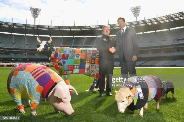 Kevin Sheedy and AFL CEO Gillon McLachlan pose during the 2017 Powercor Country Festival Launch at Melbourne Cricket Ground on May 8 2017 in...