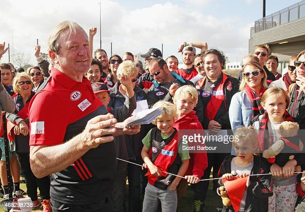 Kevin Sheedy Bombers General Manager Commercial Development and Innovation hands out tickets to fans in the crowd to the Bombers game against the...