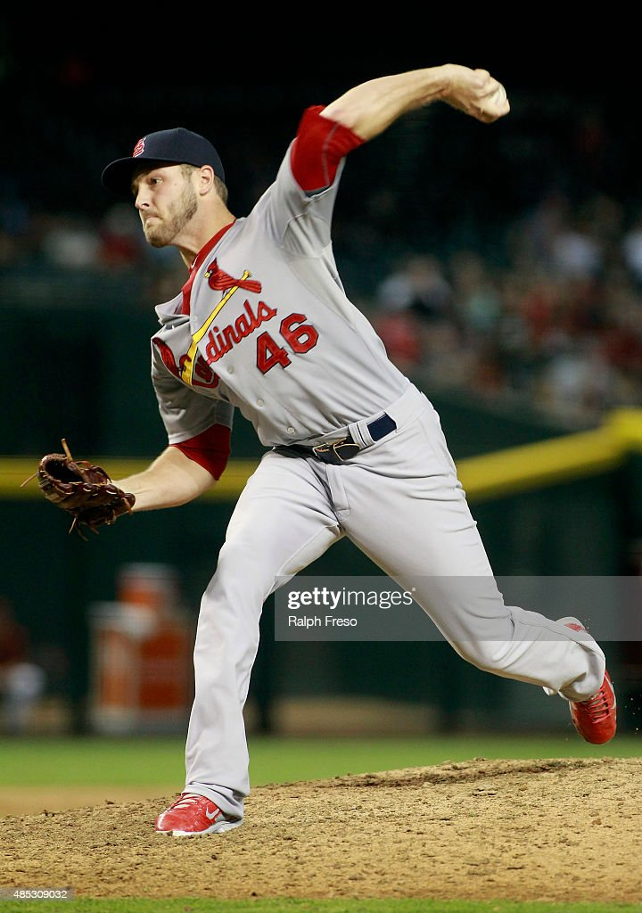 Kevin Siegrist #46 of the St Louis Cardinals delivers a pitch against the Arizona Diamondbacks during the eighth inning of a MLB game at Chase Field on August 26, 2015 in Phoenix, Arizona. The Cardinals defeated the Diamondbacks 3-1.