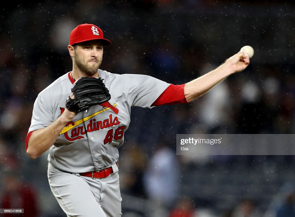 Kevin Siegrist #46 of the St. Louis Cardinals tries to pick the runner off at first during the game against the New York Yankees on April 16, 2017 at Yankee Stadium in the Bronx borough of New York City.