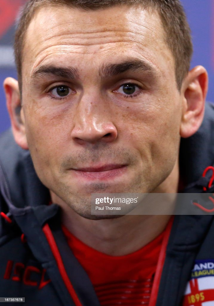 Kevin Sinfield of England speaks watches on during an interview after the England Rugby League World Cup training session at the KC Stadium on November 8, 2013 in Hull, England.