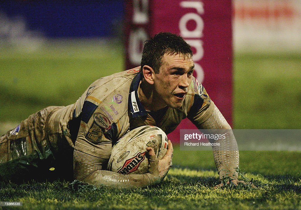 Kevin Sinfield of Leeds dives over to score a try during the Engage Super League match between Leeds Rhinos and Hull FC at the Headingley Carnegie...