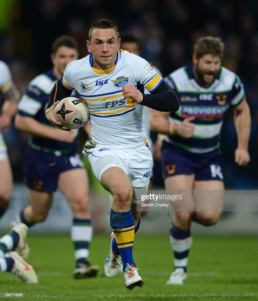 <a gi-track='captionPersonalityLinkClicked' href=/galleries/search?phrase=Kevin+Sinfield&family=editorial&specificpeople=240224 ng-click='$event.stopPropagation()'>Kevin Sinfield</a> of Leeds Rhinos during Rugby League pre-season friendly between Leeds Rhinos and Bradford Bulls at Headingley Stadium on January 20, 2013 in Leeds, England.