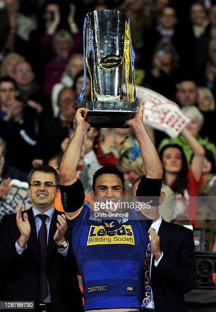 Kevin Sinfield of Leeds Rhinos lifts the trophy following his team's victory at the end of the Engage Super League Grand Final match between St...