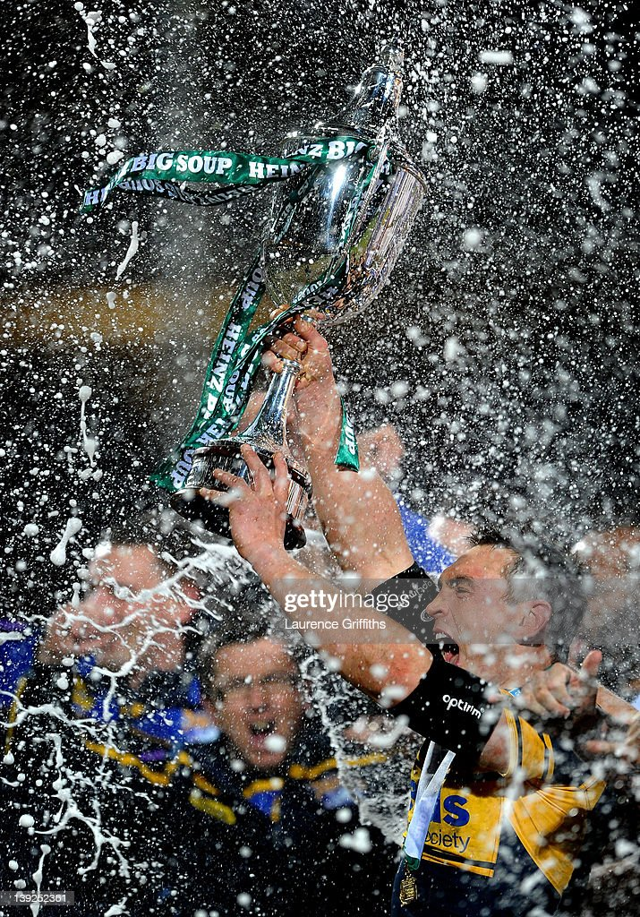 Kevin Sinfield of Leeds Rhinos lifts the trophy following his team's victory at the end of the World Club Challenge match between Leeds Rhinos and Manly Sea Eagles at Headingley Carnegie Stadium on February 17, 2012 in Leeds, England.