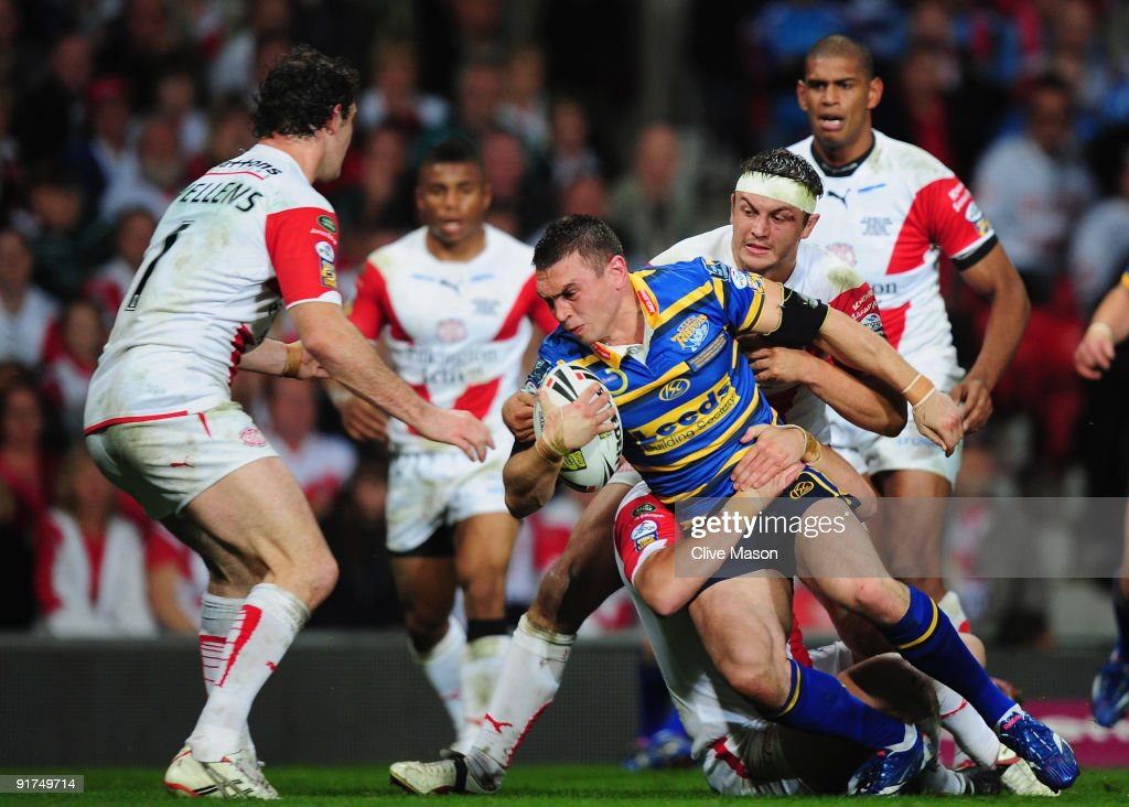 Kevin Sinfield of Leeds Rhinosis tackled during the Engage Super League Grand Final between Leeds Rhinos and St Helens Old Trafford on October 10, 2009 in Manchester, England.