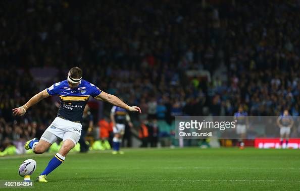 Kevin Sinfield of the Leeds Rhinos converts his teams third try during the First Utility Super League Grand Final between Wigan Warriors and Leeds...