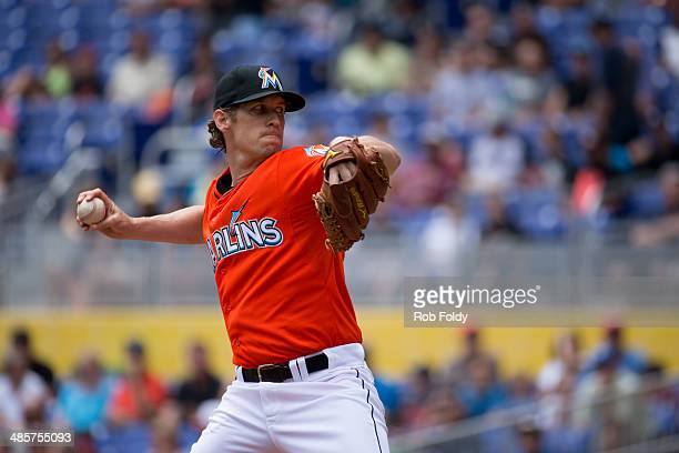 Kevin Slowey of the Miami Marlins delivers a pitch during the first inning of the game against the Seattle Mariners at Marlins Park on April 20 2014...