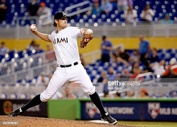 Kevin Slowey of the Miami Marlins delivers a pitch during the ninth inning of the game against the Philadelphia Phillies at Marlins Park on May 21...