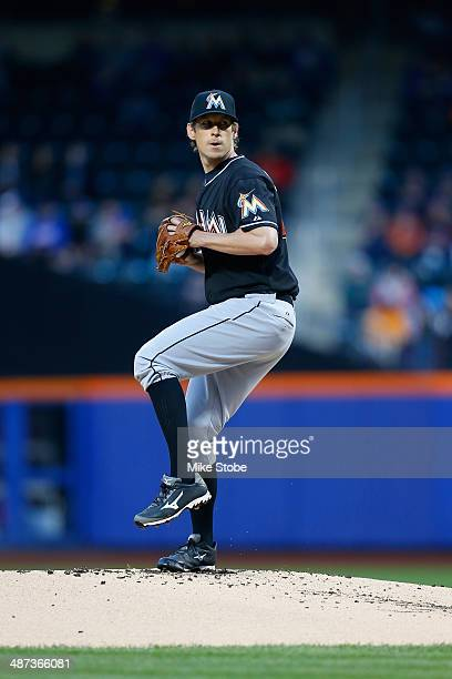 Kevin Slowey of the Miami Marlins in action against the New York Mets at Citi Field on April 26 2014 in the Flushing neighborhood of the Queens...