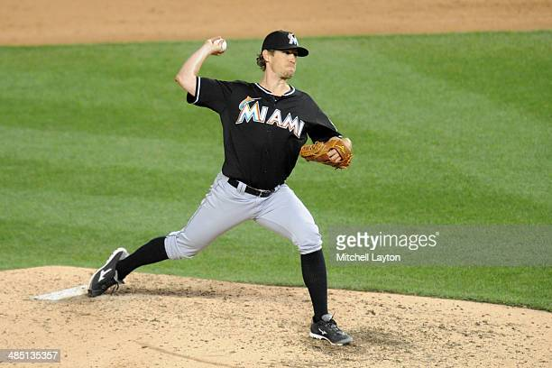Kevin Slowey of the Miami Marlins pitches during a baseball against the Washington Nationals on April 9 2014 at Nationals Park in Washington DC The...