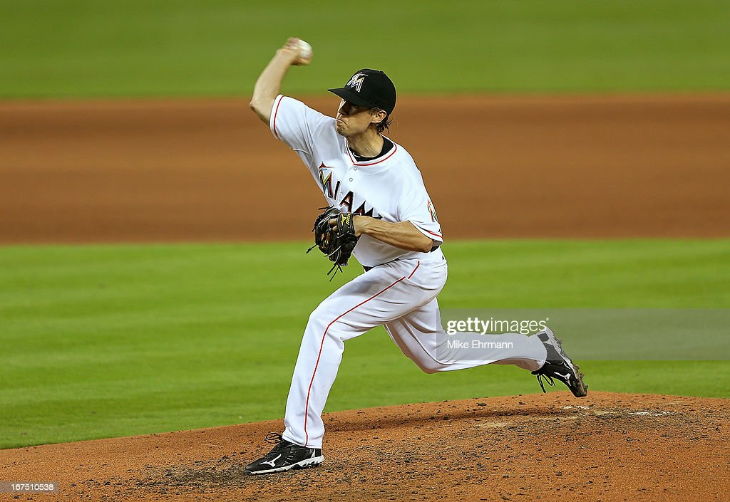 Kevin Slowey #45 of the Miami Marlins pitches during a game against the Chicago Cubs at Marlins Park on April 25, 2013 in Miami, Florida.