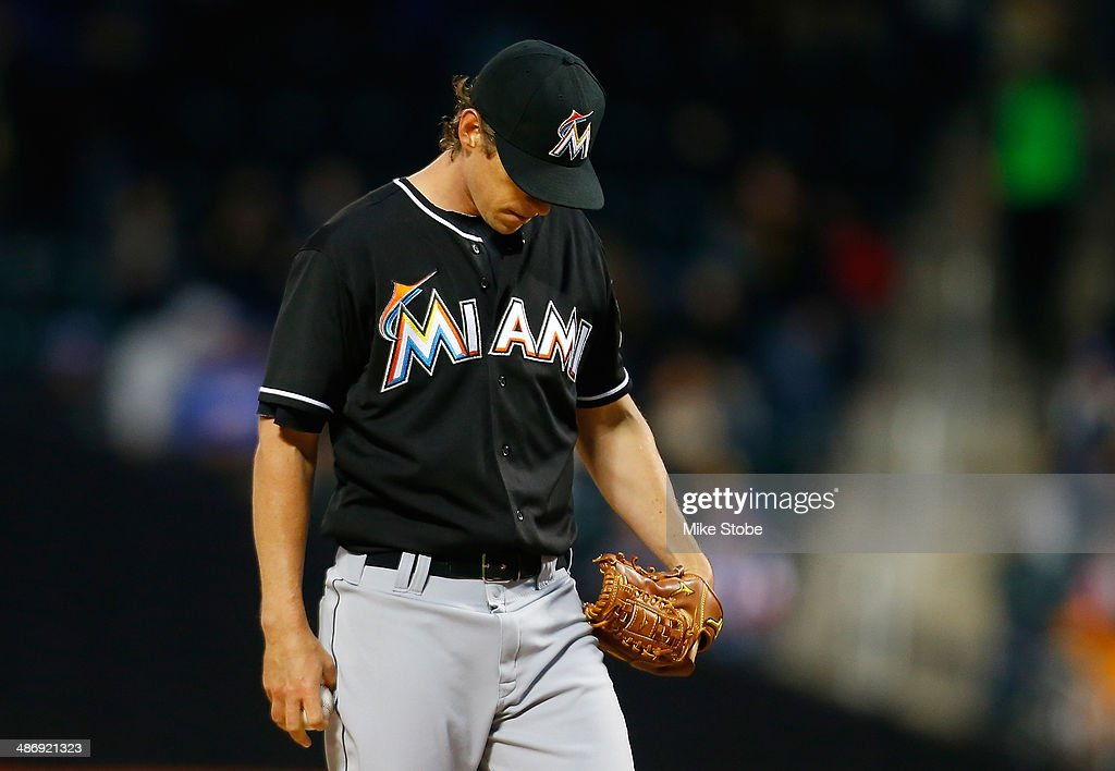 <a gi-track='captionPersonalityLinkClicked' href=/galleries/search?phrase=Kevin+Slowey&family=editorial&specificpeople=4175279 ng-click='$event.stopPropagation()'>Kevin Slowey</a> #45 of the Miami Marlins reacts during the first inning against the New York Mets at Citi Field on April 26, 2014 in the Flushing neighborhood of the Queens borough of New York City.