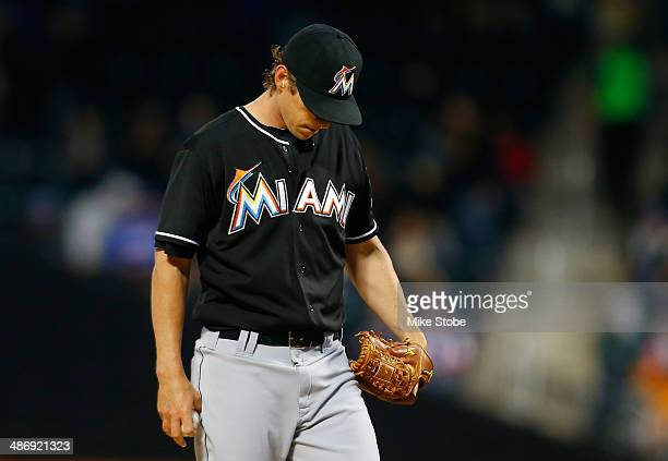Kevin Slowey of the Miami Marlins reacts during the first inning against the New York Mets at Citi Field on April 26 2014 in the Flushing...
