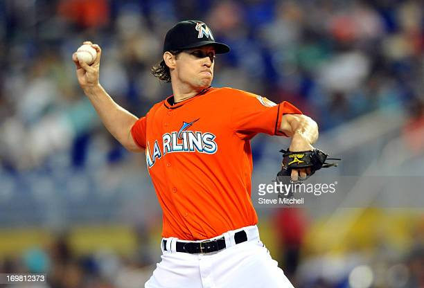 Kevin Slowey of the Miami Marlins throws a pitch during the first inning against the New York Mets at Marlins Park on June 2 2013 in Miami Florida