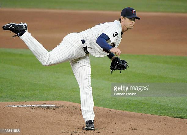 Kevin Slowey of the Minnesota Twins delivers a pitch against the Cleveland Indians on September 16 2011 at Target Field in Minneapolis Minnesota