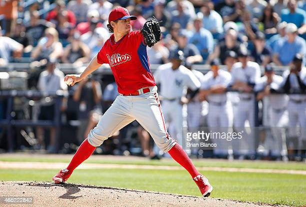 Kevin Slowey of the Philadelphia Phillies delivers a pitch during the second inning of a spring training game against the New York Yankees on March 4...