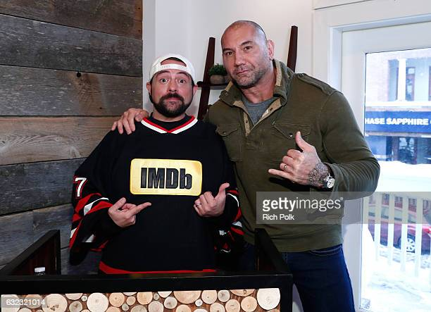 Kevin Smith and actor Dave Bautista of 'Bushwick' attend The IMDb Studio featuring the Filmmaker Discovery Lounge presented by Amazon Video Direct...