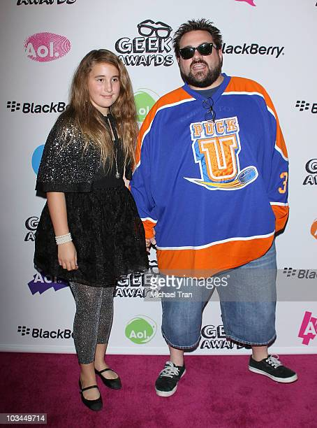 Kevin Smith and his daughter arrive to the AOL Blackberry 'Geek' Awards held at The Conga Room LA Live on August 18 2010 in Los Angeles California