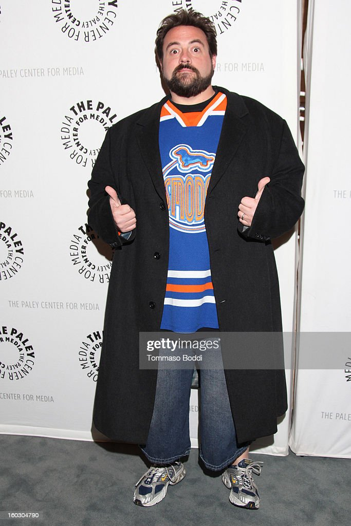 <a gi-track='captionPersonalityLinkClicked' href=/galleries/search?phrase=Kevin+Smith+-+Film+Director&family=editorial&specificpeople=5102286 ng-click='$event.stopPropagation()'>Kevin Smith</a> attends The Paley Center for Media and Warner Bros. Home Entertainment present 'Batman: The Dark Knight Returns - Part 2' premiere held at The Paley Center for Media on January 28, 2013 in Beverly Hills, California.