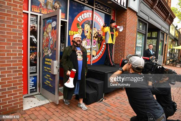 Kevin Smith greets fans at the Jay And Silent Bob Cosplay Guinness Book Of World Records Event on August 5 2017 in Red Bank New Jersey