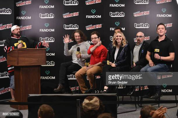 Kevin Smith interviews Ben Edlund Griffin Newman Scott Speiser Valorie Curry Jackie Earle Haley and Peter Serafinowicz from The Tick onstage during...