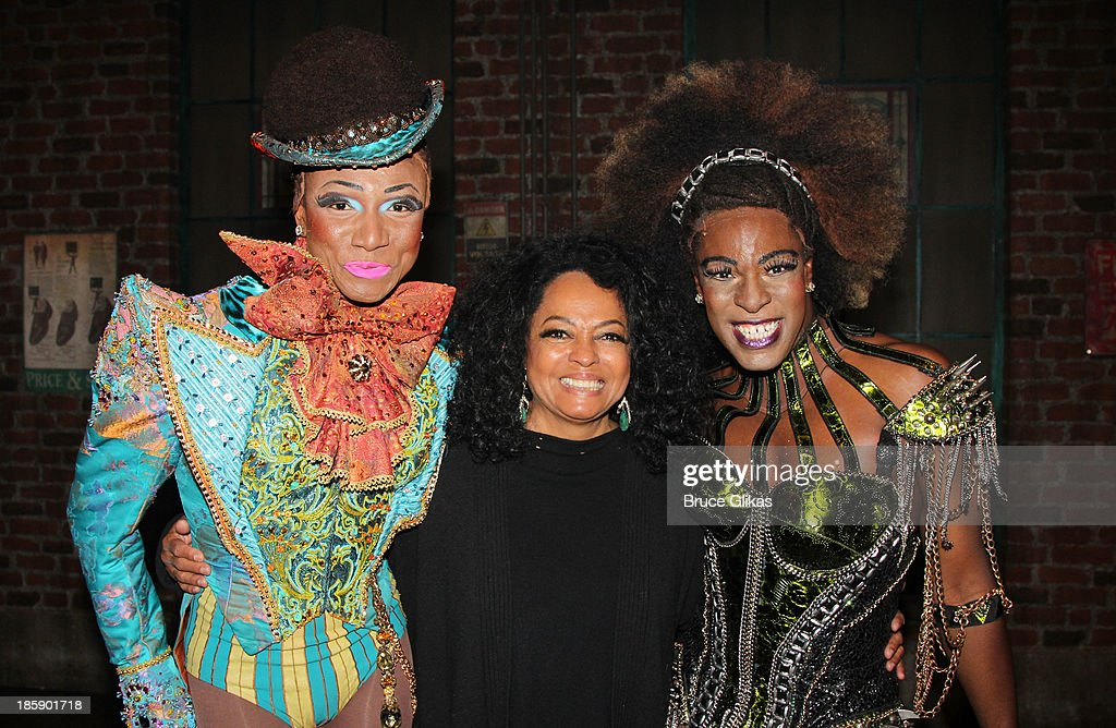 Kevin Smith Kirkwood, Diana Ross and Kyle Taylor Parker pose backstage at 'Kinky Boots' on Broadway at The Al Hirshfeld Theater on October 25, 2013 in New York City.