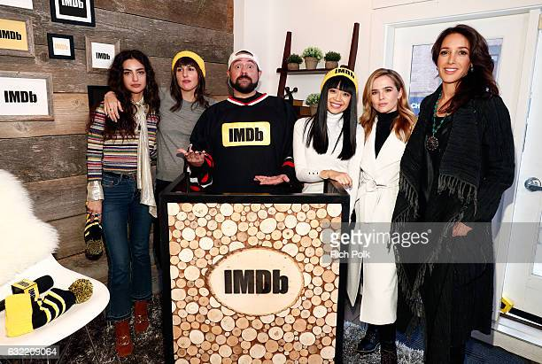Kevin Smith poses with actors Medalion Rahimi Ry RussoYoung Cynthy Wu Zoey Deutch and Jennifer Beals of 'Before I Fall' at The IMDb Studio featuring...