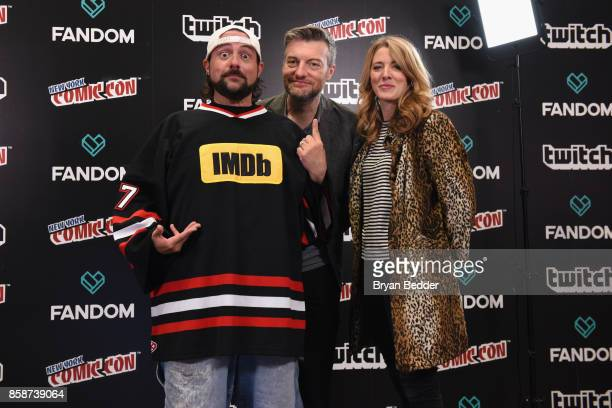 Kevin Smith poses with Black Mirror Creator writer producer Charlie Brooker and Executive Producer Annabel Jones onstage during IMDb LIVE at NY...