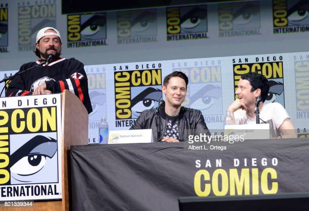 Kevin Smith Samuel Barnett and Elijah Wood at Dirk Gently's Holistic Detective Agency BBC America Official Panel during ComicCon International 2017...