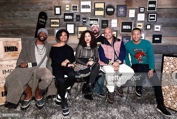 Kevin Smith with actors Aldis Hodge Misha Green Jurnee SmollettBell director Anthony Hemingway and executive producer John Legend of 'Underground'...