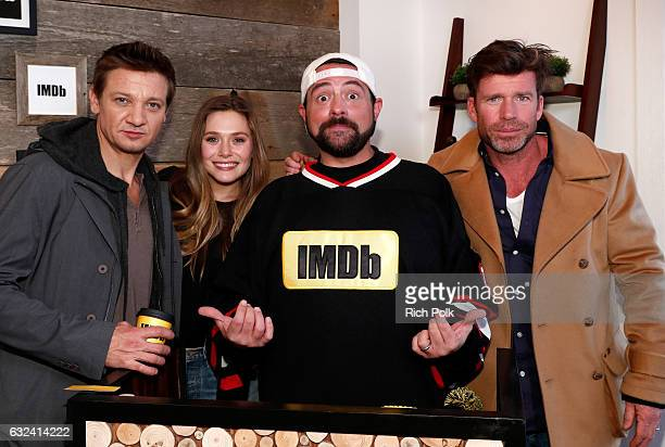 Kevin Smith with actors Jeremy Renner Elizabeth Olsen and Taylor Sheridan of 'Wind River' at The IMDb Studio featuring the Filmmaker Discovery Lounge...