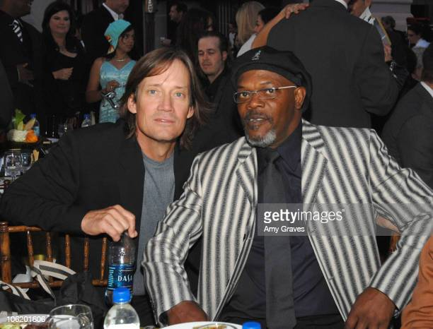 Kevin Sorbo and Samuel L Jackson during George Lopez Hosts National Kidney Foundation Gala Inside in Los Angeles California United States
