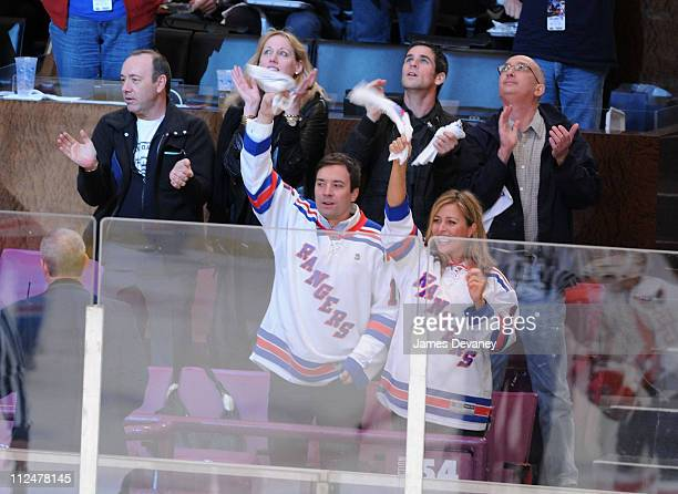Kevin Spacey Amy Sacco Jimmy Fallon and Nancy Juvonen attend the Washington Capitals vs New York Rangers game at Madison Square Garden on April 22...