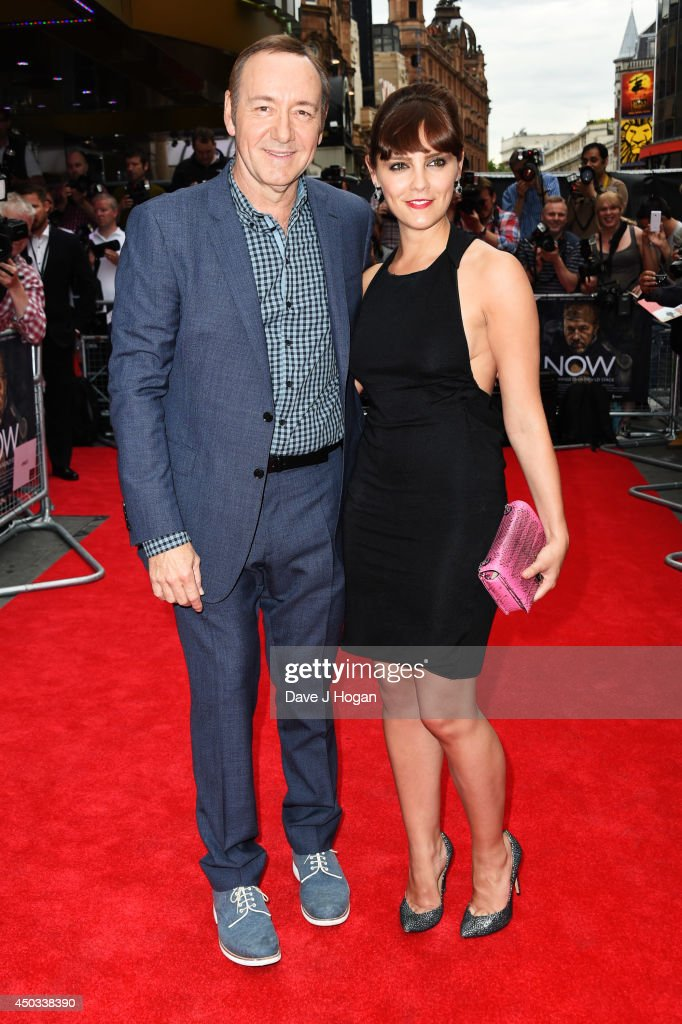 Kevin Spacey and Annabel Scholey attend the European premiere of 'Now' at The Empire Leicester Square on June 9 2014 in London England